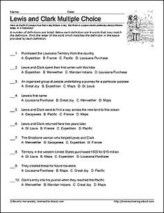 Free Lewis and Clark Printable Worksheets and Coloring Pages: Lewis and Clark Challenge Worksheet