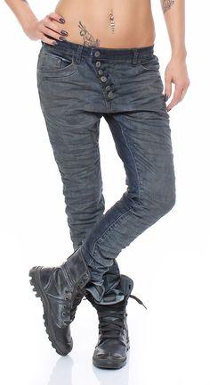 SKUTARI Luxus Designer Denim Bootcut Baggy Jeans Offene Schräge Knopfleiste langer Reissverschluss (Farbe Used Denim, Größe S)