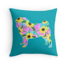 Pug, Watercolor Sunflowers - Throw Pillow