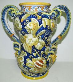 """Cantagalli Maiolica Italian Vase H: 13"""" Lot 53 in Pottery & Glass, Pottery & China, Art Pottery, Majolica   eBay"""