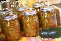Sweet Zucchini Relish ~ The Recipe } I mean I had to, I only had 3 pints left in. Zucchini Relish Recipes, Recipe Zucchini, Summer Squash Relish Recipe, Zuchini Relish, Canning Pickles, Zucchini Squash, Zucchini Banana, Rachel Berry, Home Canning