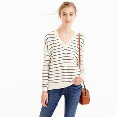 Striped V-Neck Sweater In Cotton-Merino Wool : Women's Sweaters | J.Crew