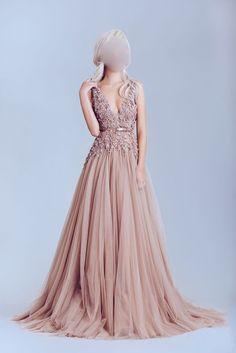 Deep V Neckline Lace prom Dresses, Dusty pink prom Dress, A line Eveni – SposaDesses