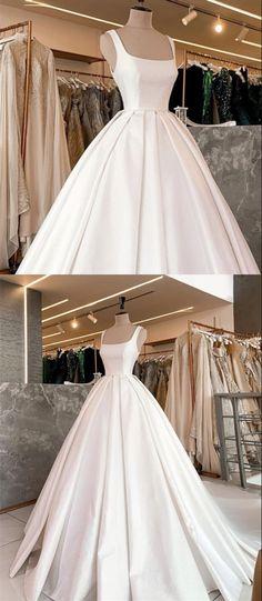 Simple wedding ball gown dresses spaghetti straps satin princess bridal gowns Wedding Dresses Near Me, Elegant Wedding Dress, Wedding Dress Styles, Bridal Dresses, Gown Wedding, Ball Gown Dresses, Prom Dress, Simple Weddings, Bridal Shops