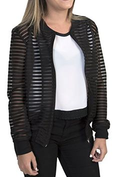 319d4578feaa Valentina Gordon Women Zip Up Casual Fashion Bomber Jacket Coat Printed and  Stripped💗