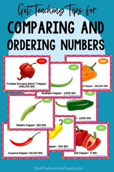 Step by step tips for teaching how to compare and order numbers to 1 million. Read how on Shut the Door and Teach. Upper Elementary Resources, Ordering Numbers, Math Task Cards, Fourth Grade Math, Fun Math Games, Common Core Math, Teacher Blogs, The Hundreds, Math Classroom