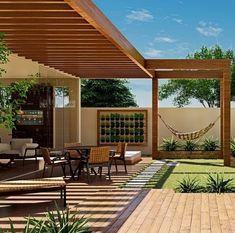 Pergola Patio, Backyard Patio, Backyard Landscaping, Patio Design, Exterior Design, Garden Design, Modern Backyard, Modern Pergola, Outdoor Garden Decor