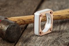 Amici x Rose Gold - White Ceramic Ring - Vitaly Design Jewelry Box, Women Jewelry, Jewellery, Ring Bracelet, Bracelets, Wedding Bands, Gold Rings, Fashion Accessories, Jewelry Design