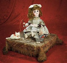 "French Musical Automaton ""Little Girl with Her Toys"" by Leopold Lambert"