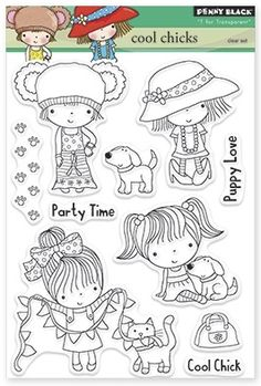 Penny Black - Clear Stamp - Cool Chicks
