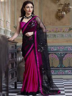 Black with Pink Designer Saree By Soha Ali Khan