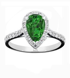 Gorgeous in green - an exceptional pear shaped African emerald surrounded by brilliant cut diamonds - Australia's finest Dress Rings, Pear Shaped, Jewelry Stores, Heart Ring, Emerald, Diamonds, Jewelry Design, African, Shapes