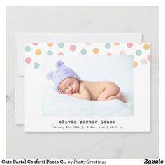 Cute Pastel Confetti Photo Collage Baby Girl Birth Announcement Baby Girl Birth Announcement, Birth Announcement Photos, Confetti Photos, Baby Girl Photos, Paper Texture, Baby Girl Newborn, Card Stock, Create Yourself, Dots