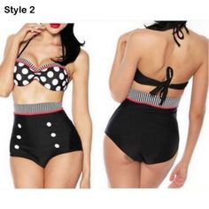 Juniors' Vintage Pin-Up Style High-Waisted Swimsuit - 4 Styles Available