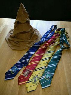 Harry-Potter-Party-Geburtstag-Deko-Set-sprechender-Hut-4-Krawatten-Hogwarts