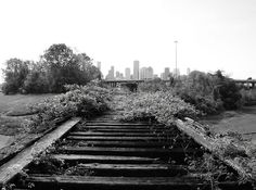 Houston Skyline, from Old MKT Railroad Bridge over White Oak Bayou, near Studemont & I-10, Houston, Texas.  photo from accent on eclectic's photostream on Flickr.
