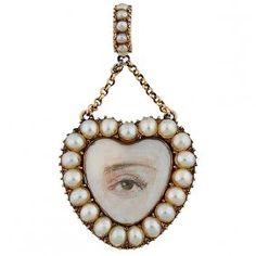 Lover's Eye 19th century heart pendant : Lot 1