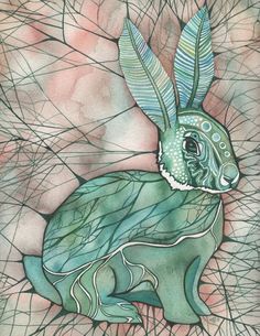 Moth Bunny 8.5 x 11 print of detailed watercolour artwork in whimsical turquoise aqua green brown olive earth tones with a blush of pink