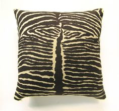 """Vintage Heavy Linen Zebra Fabric Pillow, 18"""" x 18"""" by Wary Meyers"""