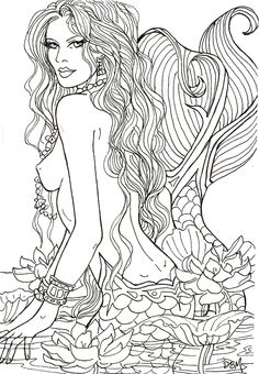 LOTUS SIGHTING by Artist Diane S Martin Mermaid Fantasy Myth Mythical Mystical Legend Siren Whimsy Whimsical Mother Child Baby Art Coloring pages colouring adult detailed advanced printable Kleuren voor volwassenen coloriage pour adulte anti-stress kleurplaat voor volwassenen Line Art Black and White