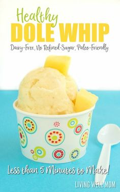 Looking for a healthy satisfying frozen treat? This Healthy Homemade Dole Whip recipe tastes incredible and takes less than 5 minutes to make (no ice cream maker required!) It's dairy-free with no refined sugar and Paleo friendly so this is a frozen treat you can be happy to serve your kids and enjoy yourself! Get the easy recipe here