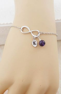 Infinity Bracelet with initial charm and gemstone from EarringsNation Bridesmaid Gift Christmas Gift for friends