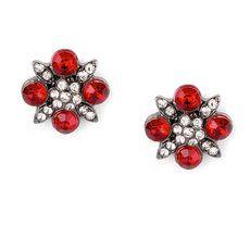 Vintage Red Crystal Flower Stud Earrings