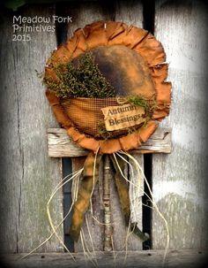 Primitive Folk Art Large Sunflower Pocket Door Greeter with Sweet Annie & Raffia--Autumn Blessings-Faap, Hafair Team by MeadowForkPrims on Etsy