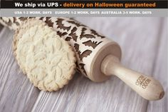...gone haunting...will return at midnight....  Get ready for Halloween and surprise your friends or family with scaaaary cookies. Our SCARY BATS pattern makes cookies a perfect treat!  We ship engraved rolling pins only with UPS courier as standard shipping and there are no your shipping upgrades required. We believe that our shipping offer is the fastest and cheapest on Etsy. For that reason, you can be sure that your embossed rolling pin will be delivered on time, especially before…