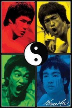 Bruce Lee Color Quad Poster