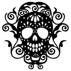 Silhouette Design Store - New Designs Silhouette Design, Fuchs Silhouette, Skull Silhouette, Silhouette Curio, Silhouette Cameo Projects, Silhouette Portrait, Sugar Skull Stencil, Sugar Skull Shirt, Halloween Rocks