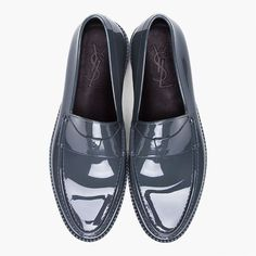 YSL Grey Rubber Loafers
