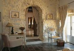 Stone wall ~ love it!-Stone wall ~ love it! Stone wall ~ love it! French Country Interiors, Country Interior Design, French Country House Plans, Rustic Home Design, Country Style Homes, French Country Style, French Country Decorating, French Interior, Stone Interior