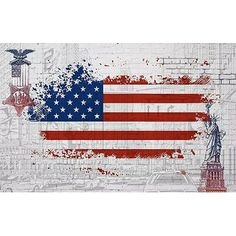Ebern Designs Speight USA Flag City Statue of Liberty Textile Texture Wall Mural - Today Pin Liberty Wallpaper, Wallpaper Size, Hotel Lobby, Patriotic Wallpaper, White Background Wallpaper, Patriotic Symbols, Botanical Wallpaper, Textile Texture, Embossed Wallpaper