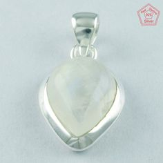 PAN SHAPE 92.5 SOLID STERLING SILVER RAINBOW MOON STONE PENDANT PN4917 #SilvexImagesIndiaPvtLtd #Pendant