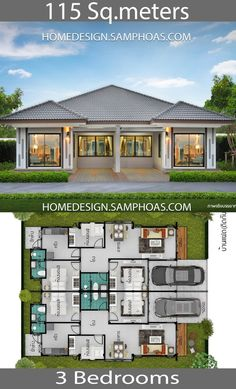 115 Sqm 3 Bedrooms Home design idea - Home Ideassearch 3d House Plans, Small House Floor Plans, Model House Plan, Simple House Plans, House Layout Plans, Family House Plans, Dream House Plans, House Layouts, Home Design