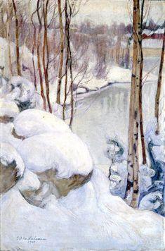 Pekka Halonen   1865 - 1933, Finnish Painter of Landscapes & People    Pekka Halonen, Winter Landscape, oil on canvas, 1919, Hermitage M...