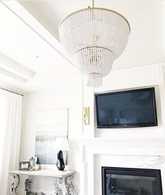 Master fireplace with tv Wood Mantels, Studio Mcgee, Exterior Design, New Homes, Home And Garden, Ceiling Lights, Interior, Instagram Posts, Modern
