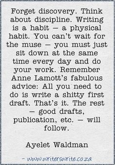 Ayelet Waldman....Writing is a habit. Exactly what I need to get off my butt and isntead of waiting for the perfect writing moment, make the moment perfect with writing.