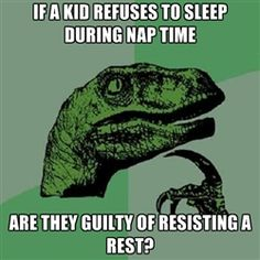 Philosoraptor - If a kid refuses to sleep during nap time are they guilty of resisting a rest?