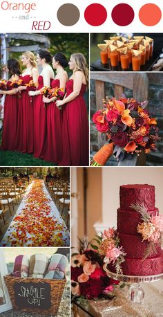 These dresesses are the right color. I love the bouquet, the use of leaves on the runner, and the drinks look interesting. ^ ^- orange and red rustic fall wedding color ideas