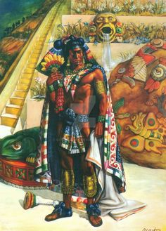 """Nezahualpilli, King of Texcoco, AD 1464-1505. Like his father, he was a poet, was considered a sage, and had the reputation of being a fair ruler. Only one of his poems survives: """"Icuic Nezahualpilli yc tlamato huexotzinco"""" (""""Song of Nezahualpilli during the war with Huexotzinco""""). His court was a haven for astronomers, engineers, and soothsayers. by coricancha.deviantart.com on @DeviantArt"""