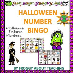 Halloween Number Bingo First Grade Lessons, First Grade Activities, Kindergarten Activities, Halloween Vocabulary, Halloween Math, Halloween Activities, Bingo Pictures, History Classroom, Elementary Math