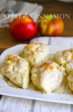 Apple & Cinnamon Scones with Maple Vanilla Bean Glaze - very easy to make!  Great for Fall breakfast or brunch.