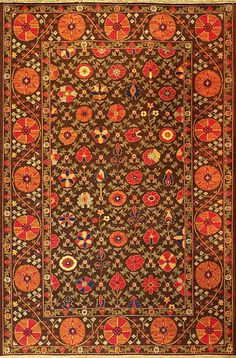 "Garden Suzani (chocolate/red - Suzani design 4) by A Rug For All Reasons | These wonderful Suzani (or ""Souzani"") designs trace their origins back several centuries to the great folk art of Uzbekistan. Traditionally woven in embroidery construction, these are now woven in a durable and hardwearing Soumak construction that will hold up for generations."