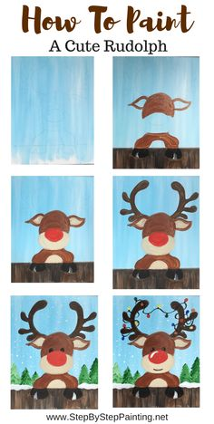 How To Paint A Cute Rudolph - Step By Step Painting - Basteln frühling - Welcome Crafts Christmas Art Projects, Holiday Crafts, Kids Christmas Art, Fun Art Projects, Rudolph Christmas, Preschool Christmas, Preschool Crafts, Christmas Cookies, Painting For Kids