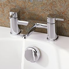 The Munro tub faucet features smooth lines and a chrome finish