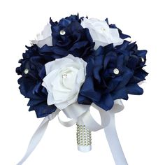 """Color: Navy Blue and White Dimension: DIA 9"""" Bouquet is made of navy blue and white open roses. Each rose is decorated with a rhinestone. Handle: White ribbon wrapped with bling. Colors can be changed"""