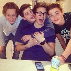 Caspar Lee, Marcus Butler, and Finn and Jack Harries....to much you guys too much!