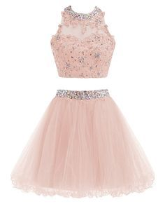 Two Piece Prom Dress, Tulle Short Homecoming Dress, Appliques Prom Gowns from fashionlove Product Description Service email: bellawa. Prom Dresses Two Piece, Pretty Prom Dresses, Prom Dresses For Teens, Sweet 16 Dresses, Homecoming Dresses, Cute Dresses, Short Dresses, Prom Gowns, Quinceanera Dresses Short